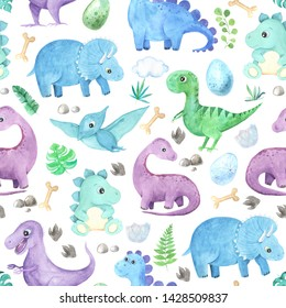 Seamless pattern with watercolor cute little Dinosaurs characters. Cartoon childish prehistoric reptile print in blue, green, violet colors. Perfect for baby kid fabric textile and wrapping paper