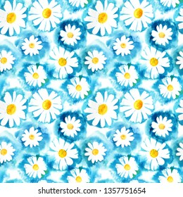 Seamless pattern with watercolor daisies.