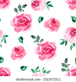 Seamless pattern with watercolor delicate flowers and green leaves on a white background