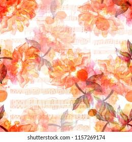 A seamless pattern with a watercolor drawing of a blooming rose, hand painted, with sheet music, golden toned
