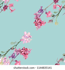 фотообои Seamless pattern. Watercolor drawings of field white and pink carnations on a blue background. Fashionable floral print for clothing, wallpaper, bedding. on the covers of books and gift wrapping.