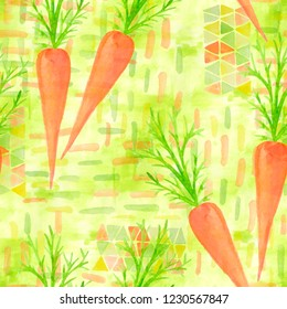 A seamless pattern with watercolor drawings of orange spring carrots. Hand painted illustration with watercolour vegetables above brush strokes for scrapbooking, paper kitchen napkin  design