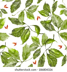 Seamless pattern with watercolor dry autumn wild grape green and red leaves on white