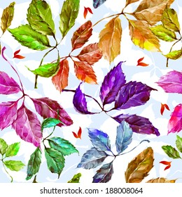 Seamless pattern with watercolor dry autumn wild grape green, red, purple, blue and orange leaves on light blue background