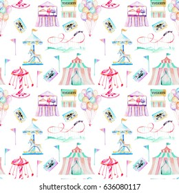 Seamless pattern with watercolor elements of amusement park, hand drawn isolated on a white background