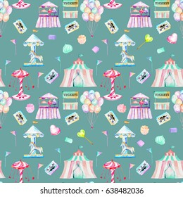 Seamless pattern with watercolor elements of amusement park and candies, hand drawn isolated on a dark blue background