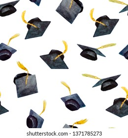 seamless pattern of watercolor elements for graduation, hand-drawn graduation caps isolated