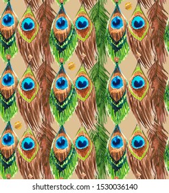 Seamless pattern of watercolor feathers of exotic peacock birds.