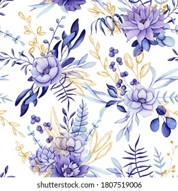 Seamless Pattern of Watercolor Floral Compositions with Violet and Purple Flowers and Golden Leaves