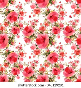 Seamless pattern watercolor flower bouquets OI. Beautiful pattern for decoration and design. Bright print. Exquisite pattern for design of watercolor sketches of the flowers.