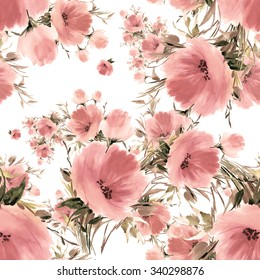 Seamless pattern watercolor flower bouquets-4. Beautiful pattern for decoration and design. Trendy print. Exquisite pattern for design of watercolor sketches of the flowers.