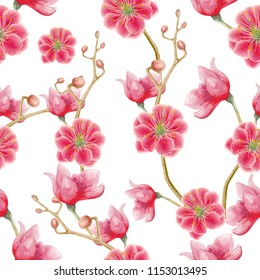 Seamless pattern of watercolor flowers
