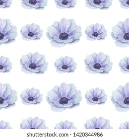 Seamless pattern with watercolor flowers Anemone Illustration of leaf sprigs Floral leaf textures handmade Digital paper Textile Wallpaper
