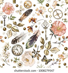 seamless pattern with watercolor flowers, butterfly, clockwork, clock, feathers. Vintage background with wildflowers and flowers roses.  illustration.