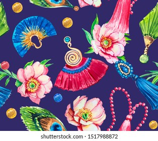Seamless pattern with watercolor flowers, gold beads, pendants, silk tassels, earrings. Glamorous texture of jewelry.