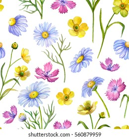 Seamless pattern of watercolor flowers, hand drawn illustration of carnation, daisy, yellowcup flowers.