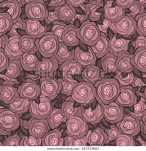 Seamless pattern. Watercolor flowers illustration in neutral colors.