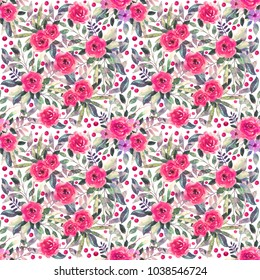 Seamless pattern with watercolor flowers, leaves. Floral background texture