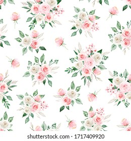 Seamless pattern with watercolor flowers pink roses, repeat floral texture, vintage background hand drawing. Perfectly for wrapping paper, wallpaper, fabric and other printing.