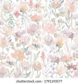 Seamless pattern watercolor flowers print design fabric cloth wallpapers wrapping paper fashion hand drawn