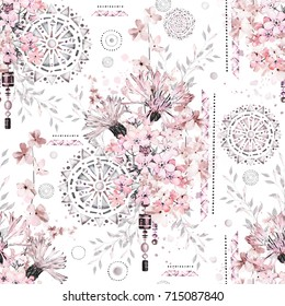 seamless pattern with watercolor flowers and textured ornaments - mandala. Abstract floral background. Tile with meadow wild flower and Geometric illustration.