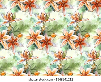 Seamless pattern with watercolor flowers. Tiger lilies. Hand-drawn illustration.