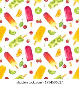 Seamless pattern with watercolor fruit popsicles and berries isolated on white background. Hand drawn watercolor illustration.