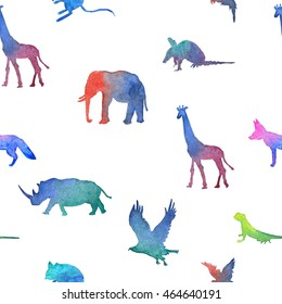 Seamless pattern, watercolor gradient african desert animals, shade pictures. Colorful lizard, parrot, hawk, sign, rhino, elephant, giraffe, fennec fox.