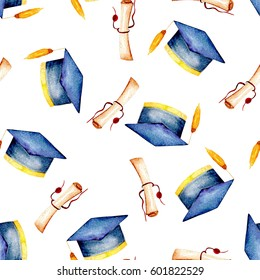 Seamless pattern with watercolor graduate hat and scroll of parchment, hand painted isolated on a white background