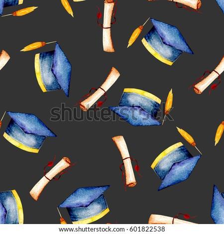 09a82cd98d556 Seamless Pattern Watercolor Graduate Hat Scroll Stock Illustration ...