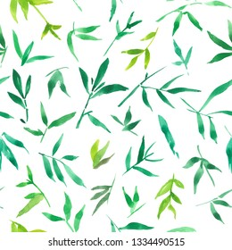 seamless pattern watercolor of green bamboo leaves, painting plant illustration