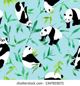 seamless pattern watercolor of green bamboo leaves and panda, illustration