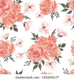 Seamless pattern with watercolor hand draw flowers and leaves, isolated on white background