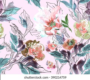 Seamless Pattern Watercolor Hand Drawn Artwork Illustration Peony with Doodle Leaves Blue Pale trendy fabric design