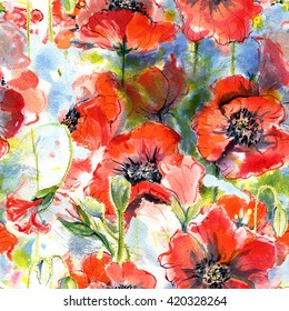 Seamless pattern with watercolor hand drawn poppies