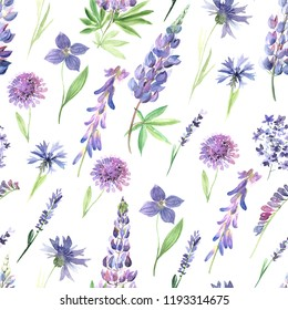 Seamless pattern with watercolor hand painted wildflowers, field plants, garden herbs, delicate leaves and branches, wild meadow flowers in violet colors. Modern watercolor style floral background