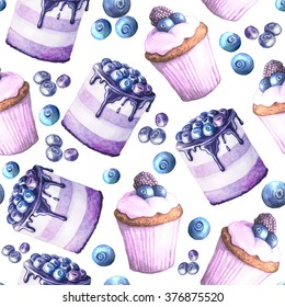 Seamless pattern with watercolor hand painted sweet and tasty cakes with blueberry.  Hand painted fruit dessert background perfect for fabric textile or menu wallpaper