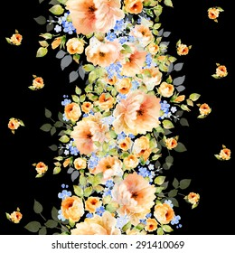 Seamless pattern and watercolor illustration of a beautiful delicate bouquet-1. Wonderful print.