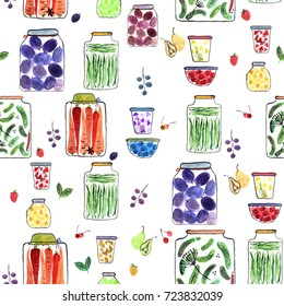 Seamless pattern with watercolor illustration with different jars with canned fruit jams, vegetables and berries.