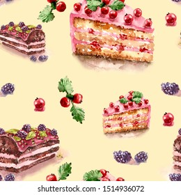 Seamless pattern. Watercolor illustration. Slices of chocolate cake and biscuit decorated with currants and blackberries  on a beige background