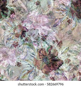 Seamless pattern. Watercolor illustration of a spring branch wild roses - EEC