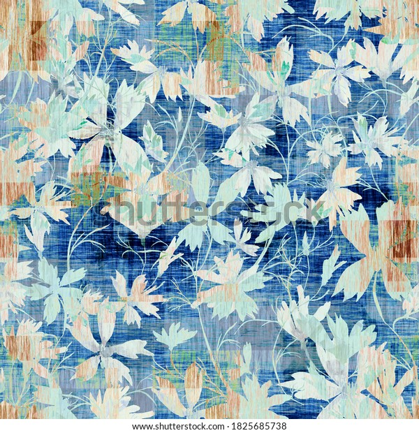 Seamless pattern. Watercolor illustration of a spring wild bluets