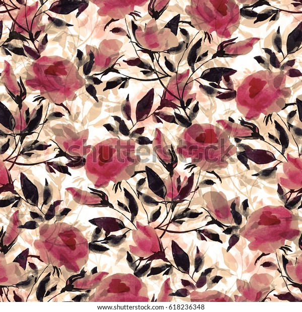 Seamless pattern. Watercolor illustration of a spring wild roses - WY