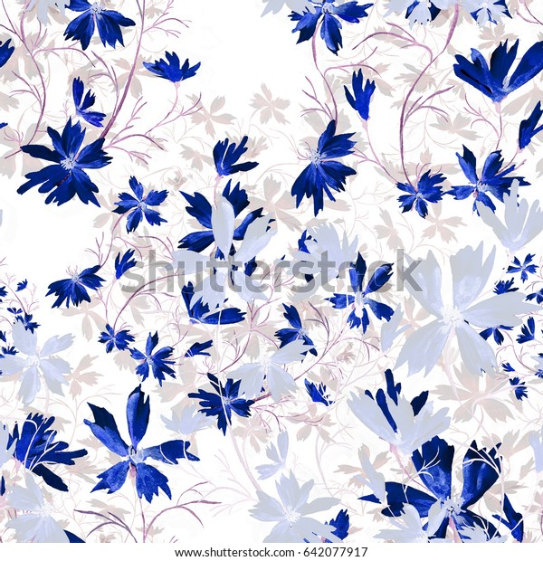 Seamless pattern. Watercolor illustration of a spring wild bluets - PW