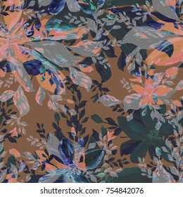 Seamless pattern. Watercolor illustration of a tropical bouquet of vanilla - ARR