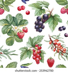 Seamless pattern with watercolor illustrations of berries