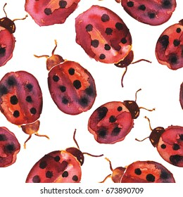Seamless pattern with watercolor lady bugs.