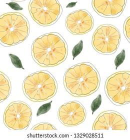 Seamless pattern of watercolor lemons