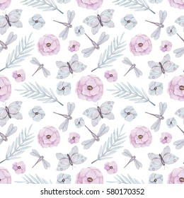 Seamless Pattern of Watercolor Light Blue Leaves, Butterflies, Pink Flowers and Dragonflies
