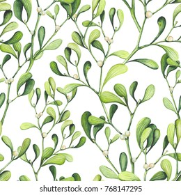 Seamless Pattern of Watercolor Light Green Mistleotoe on White Background